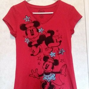 Disney Red Minnie Mouse Graphic Tee Jrs L(11-13)